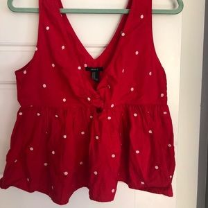 Red polka dot tank
